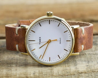 Timex®  Watch + Leather Watch Strap | Leather Watch Band + Womens Watch | Gold Timex Weekender Fairfield | Horween Leather English Tan
