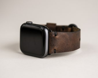 Leather Apple Watch Band 44mm | Ready to Ship Apple Watch Strap | for 42mm 38mm 44mm 40mm iWatch | Made in USA | Brown Nut Horween Leather
