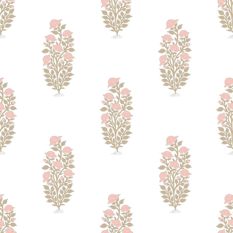 Floral Block Print Blush Pink Removable Wallpaper