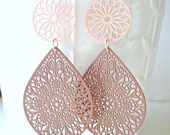 Pastel earrings, Coffee brown earrings, teardrop earrings, pink earrings, long earrings, summer trends 2018,  lace earrings, peach earrings