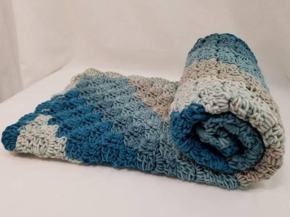 Blau Gestreift Häkeln Baby Decke Creme Decke C2c Etsy