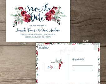 Winter Wedding Save the Date • Burgundy Floral • Marsala Merlot Red Green Navy Watercolor Invites • printable