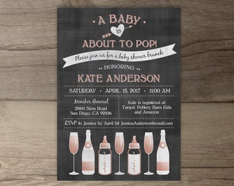 A Baby is About to Pop Champagne Brunch Baby Shower Invitations • Rose Gold •chalkboard bottles glasses •  • printable