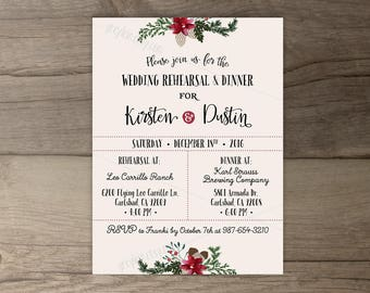 Winter Wedding Rehearsal Dinner Invitations • Wreath • 'Tis the Season to be Married • printable