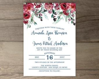 Burgundy Navy Floral Wedding Invitations • Marsala Merlot Red Green Watercolor Invites • printable