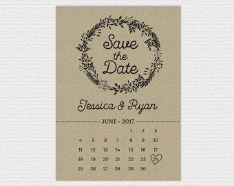 Simple Wedding Save the Date  • Calendar • Wreath Leaves • Kraft • Custom Wedding • DIY printable