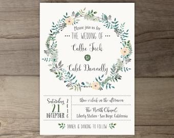 Woodsy Wedding Invitations • Spring wedding • Leafy Wreath • Floral Leaves • printable