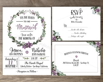 Winter Wedding Invitations • Lilac Floral Wreath • 'Tis the Season to be Married • printable