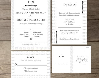 Modern Tribal Wedding Invitations • Simple Timeless Invite Suite • Classic • DIY Printable