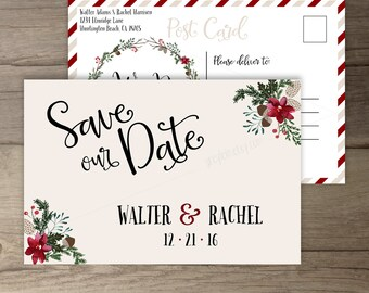 Winter Wedding Save the Date Postcard  • Wreath • 'Tis the Season to be Married • Custom Wedding • DIY printable