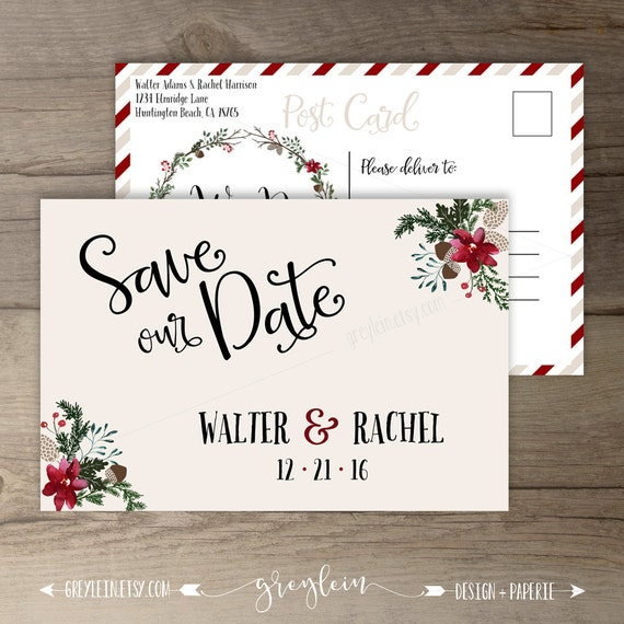 Winter Wedding Save The Date Postcard Wreath 'Tis The