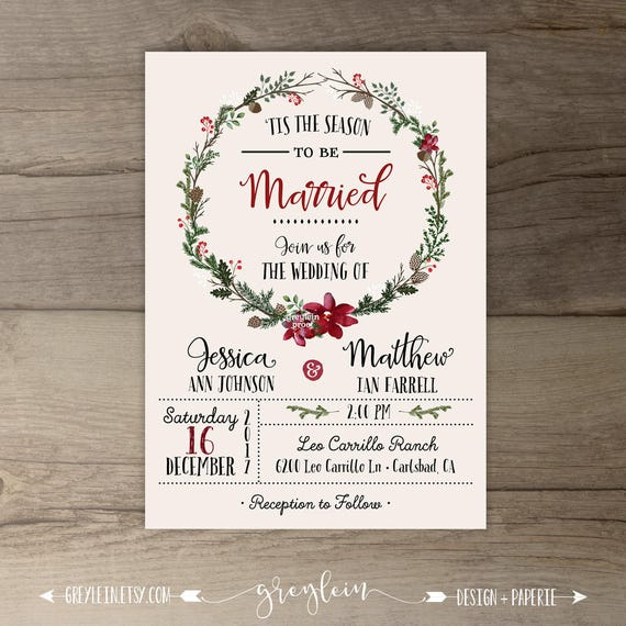 Christmas Wedding Invitations.Winter Wedding Invitations Wreath Tis The Season To Be Married Printable