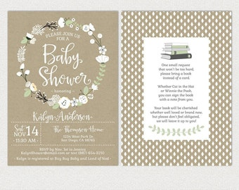 Flower Baby Shower Invitations • Bohemian • White Floral Wreath • Gender Neutral • book instead of a card • printable Invites