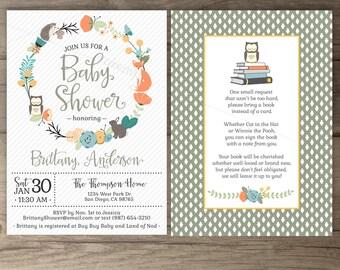 Woodland Boy Baby Shower Invitations • Floral Wreath • Fox Hedgehog Owl Bunny • book instead of a card • printable Invites