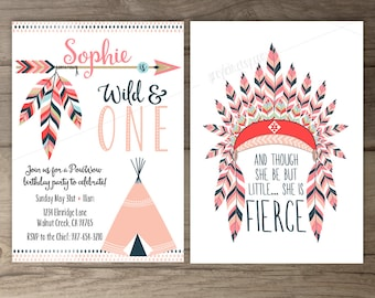 Pow wow Birthday Party Invitations •Wild and ONE • arrows feathers headdress tribal native teepee • pink navy • printable