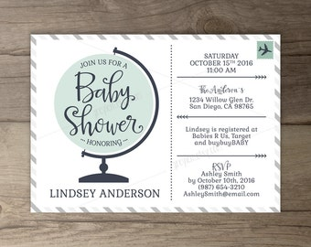 Travel Theme Baby Shower Invitations • Globe • World Map • Book Instead of a Card • printables