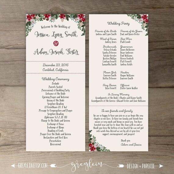 winter wedding programs order of service floral woodland etsy