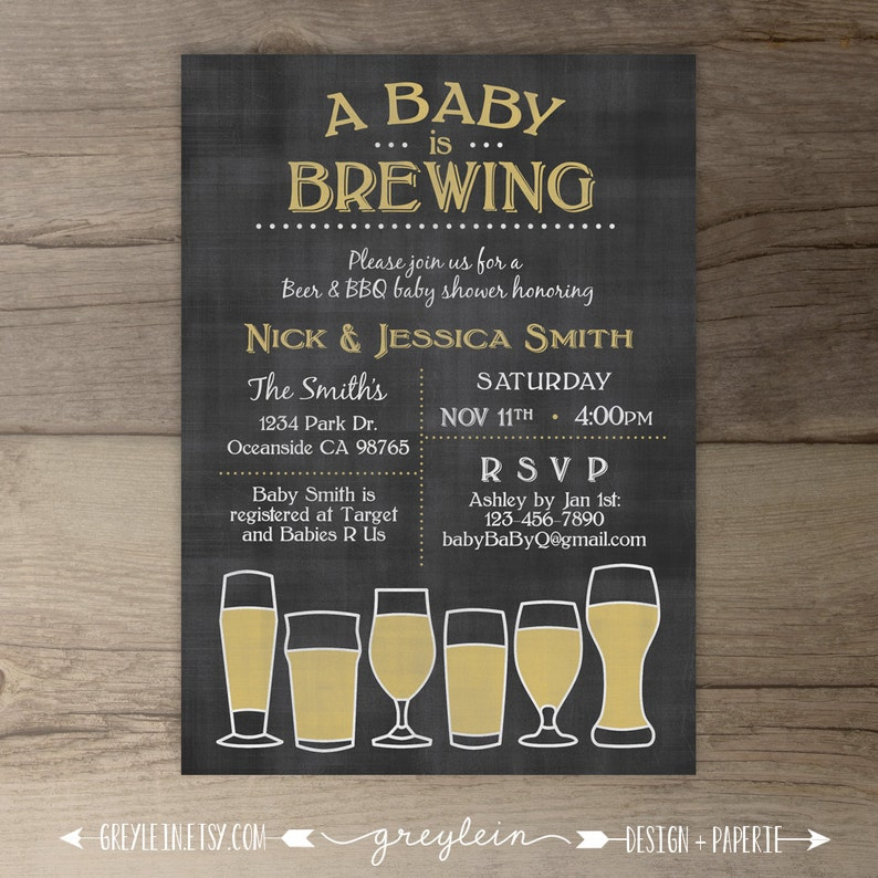 Baby Is Brewing Babyq Baby Shower Invitation Guy Friendly Etsy