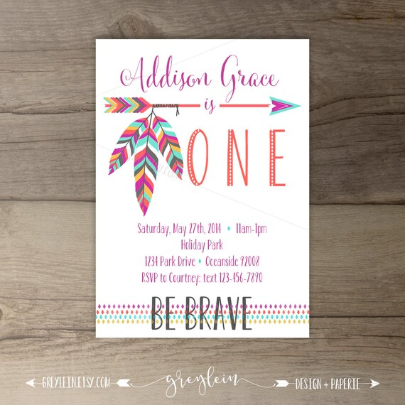Be brave birthday party invitations invites arrows etsy image 0 filmwisefo