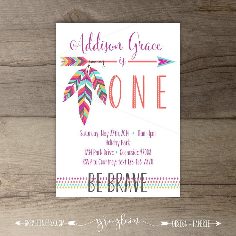 Be Brave Birthday Party Invitations Invites Arrows