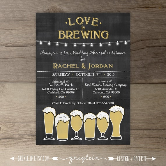Rehearsal Dinner Invitations Wedding Love Is Brewing