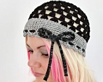 828f14baf07c6 Silk black grey summer beanie hat women lace beanies summer retro hat  skullcap
