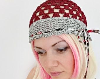 255daf0d7953a Silk bugundy grey summer beanie hat women lace beanies summer retro hat  skullcap