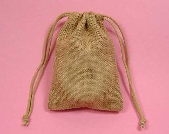 "12 6""x10"" Burlap Bags with Drawstring"
