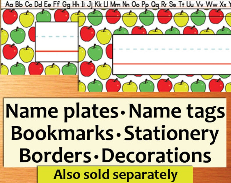 image regarding Printable Name Tages identified as PRINTABLE Clroom Standing Tags - Printable track record tags, standing plates, bookmarks, stationery, borders, apples, crimson, yellow, inexperienced, trainer