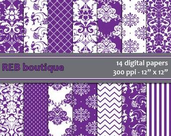 Digital Paper Damask - Digital paper, purple, white, damask, dots, chevron, stripes, paper pack, scrapbooking 45
