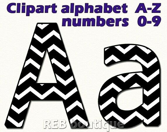 Schwarz Und Weiß Chevron Clipart Alphabet Etsy