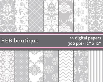Digital Paper Damask - Digital paper, gray, damask, white, dots, chevron, stripes, paper pack, scrapbooking 29