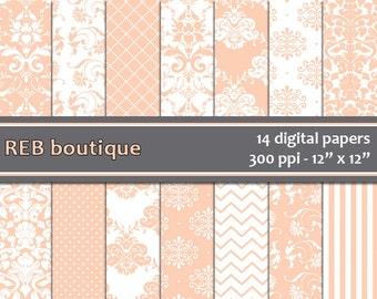Digital Paper Damask - Digital paper, peach, white, damask, dots, chevron, stripes, paper pack, scrapbooking 25