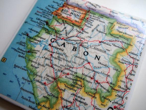 1963 Gabon Africa Map Handmade Repurposed Map Coaster Etsy
