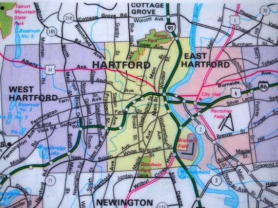 1983 Hartford Connecticut Map Handmade Repurposed Vintage Map Coaster -  Ceramic Tile Coaster Repurposed 1983 City Map Atlas OOAK Coasters
