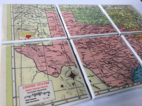Map Of Texas Oklahoma And Louisiana.1954 Texas Oklahoma Arkansas Louisiana Handmade Vintage Map Etsy