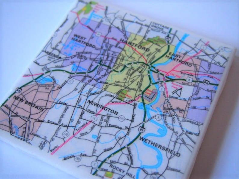 1983 Hartford Connecticut Map Handmade Repurposed Vintage Map | Etsy