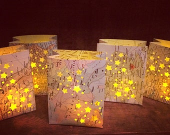 10 Mini Map Luminaries,Travel Decor, Map Luminaries, Welcome to the World, Baby Shower, Travel Theme, Favors, Place Cards, Globe Lights