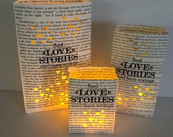 Book Centerpiece, Real Love Stories Don't Have Endings, Book Wedding Decor, 3 Luminaries, Book Themed, Library Wedding, Happily Ever After