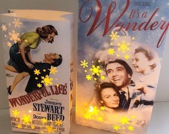 It's A Wonderful Life, Luminary Bag, Christmas Movie Luminary, Christmas Lantern, James Stewart, Donna Reed, Vintage Christmas