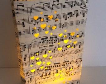Heart Luminary, Music Wedding, Wedding Lanterns, Luminary Bag, Wedding Decor, Music Gift, Sheet Music Luminary, Love, Party Decor