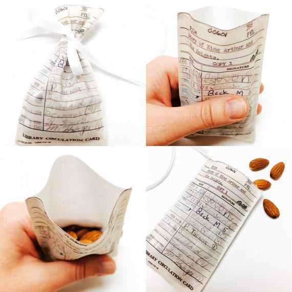 Book Favors Fabric Library Card Pouch Book Wedding Favors Etsy