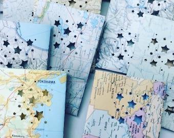 15 Map Luminaries, Mini Lanterns, Luminarias, Travel Decor, Bon Voyage, Destination Wedding, Wanderlust, Adventure, Globe Lights, Map Decor