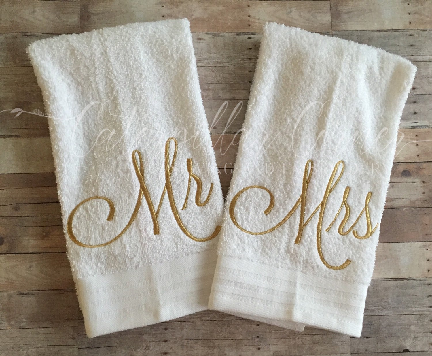 Mr And Mrs Wedding Gift Hand Towels Bridal Shower Gift Etsy