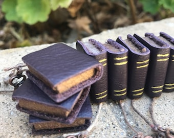 Deep Purple Leather Book with Copper Colored Key - Dollhouse Miniatures