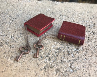 Red Leather Book with Copper Colored Key - Dollhouse Miniatures