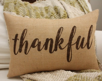 Thankful Pillow / Thanksgiving Decor / Thanksgiving Pillow