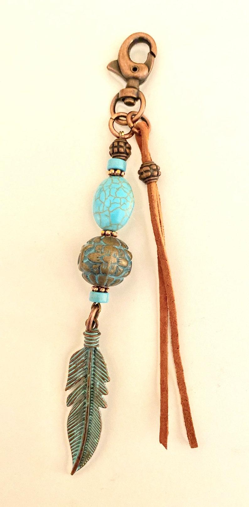 Southwest keychainbrown leather tasselBoho style keychainturquoise beaded keychain
