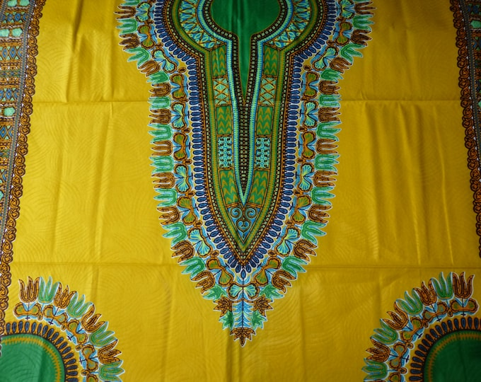 2 YARDS  Yellow mustard Dashiki /Makenzi/Java African Wax Prints /Fabrics For Dressmaking/ Sewing/Cotton Fabrics/Kitenge/Tissues Africain