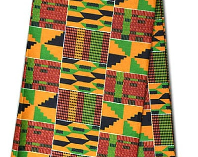 6 YARDS Traditional African Fabric Cotton Wax Print For Dress shirt Skirt and Craft Making Inspired West African Kente Fabrics Brand New